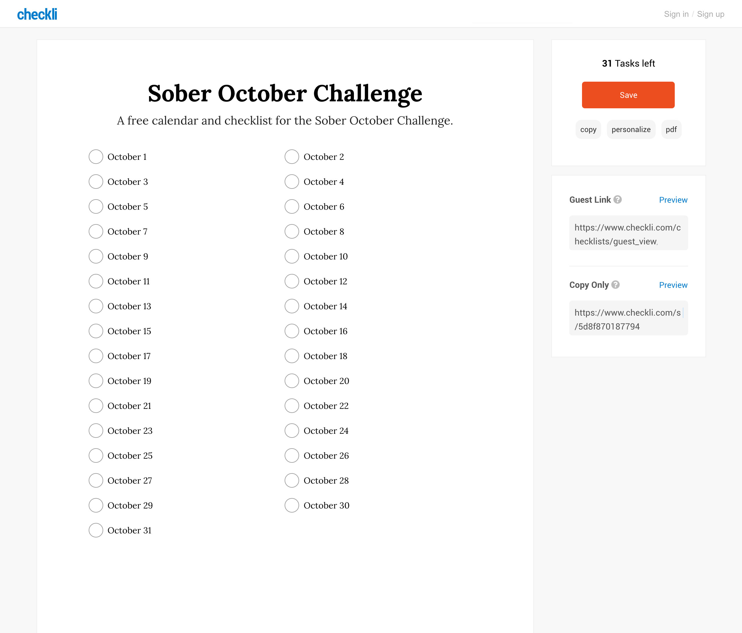 Free Sober October Checklist Calendar